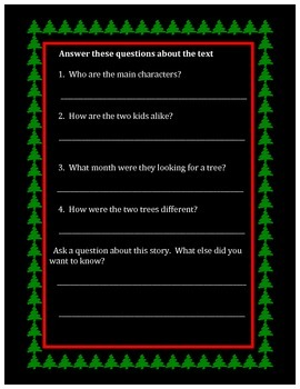 First Grade CCSS Activity 2 Christmas Tree Reading Assessment
