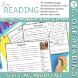 First Grade Close Reading Comprehension - Unit 2 All About Fall