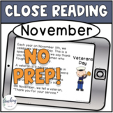 First Grade Close Reading for November