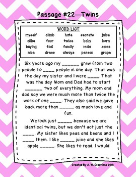 First Grade Cloze Reading Passages Set C (#21-30)