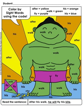 First Grade: Color by Sight Word Sentences - 001