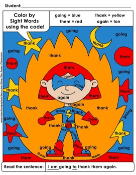 First Grade: Color by Sight Word Sentences - 005