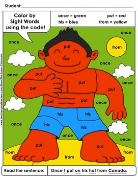 First Grade: Color by Sight Word Sentences - 008