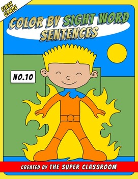First Grade: Color by Sight Word Sentences - 010