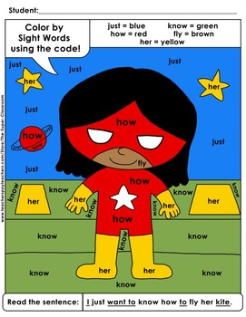 First Grade: Color by Sight Word Sentences - 012