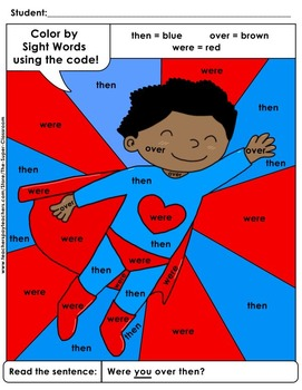 First Grade: Color by Sight Word Sentences - 013