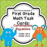 First Grade Combinations Equations Math Task Cards