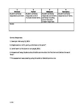 First Grade Commas: A Mini-Assessment