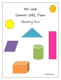 First Grade Common CORE Math Geometry Unit