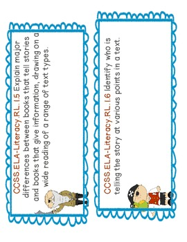 First Grade Common Core 1/2 Page Objective Labels: Literacy Part 1