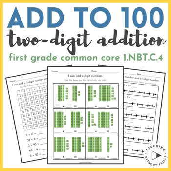 {First Grade} Common Core 1.NBT.C.4 - Add Within 100 - 2 D