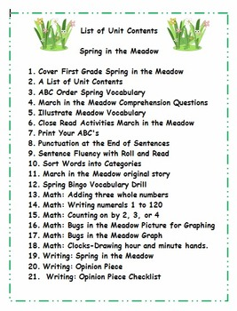 First Grade : Spring Theme Activities