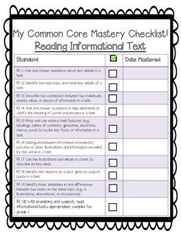 First Grade Common Core Checklist