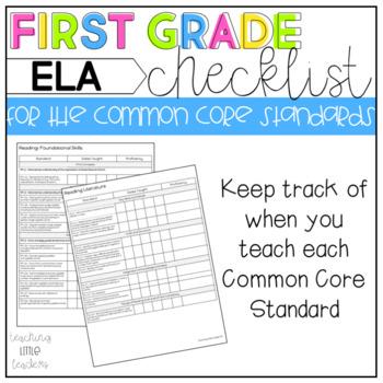 First Grade Common Core Checklist ELA