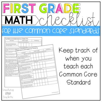 First Grade Common Core Checklist Math