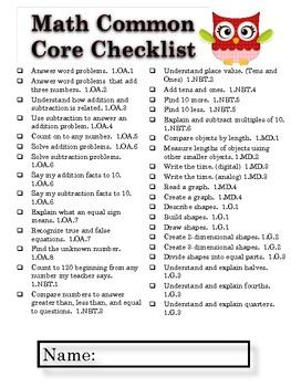 First Grade Common Core Checklists