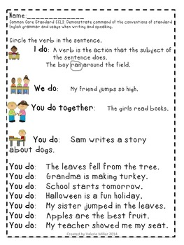 Common Core Language Standard Practice First Grade-Fall
