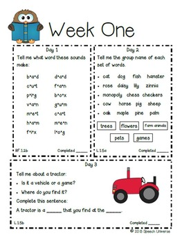 First Grade Common Core Daily Language Workout
