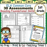 First Grade Common Core ELA Assessments- Reading Foundational Skills