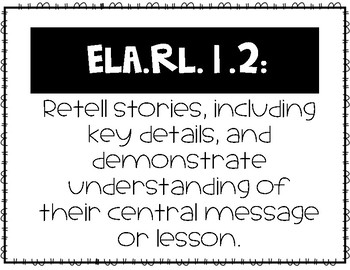 First Grade Common Core ELA Standards, Learning outcomes, and Vocabulary posters