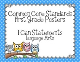First Grade Common Core ELA Standards Posters-Owl Theme
