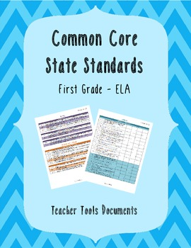 First Grade Common Core ELA Teacher Documents