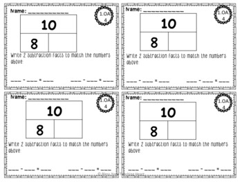 First Grade Common Core Exit Tickets: Operations & Algebraic Thinking NO PREP