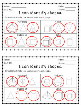 First Grade Common Core Geometry Assessments ~ Shapes & Fractions ~ FREEBIE