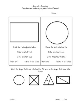 First Grade Common Core Geometry Fractions Assessment