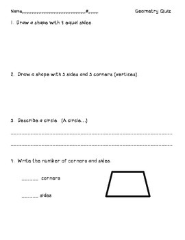 First Grade Common Core Geometry Quiz