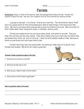 First Grade Common Core Homework