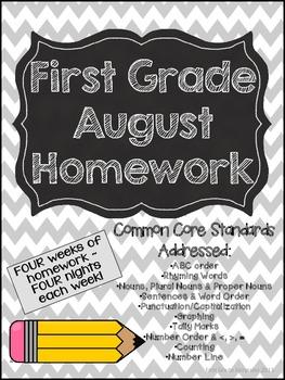 First Grade Common Core Homework - August