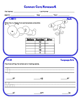 First Grade Common Core Homework {Entire Year}