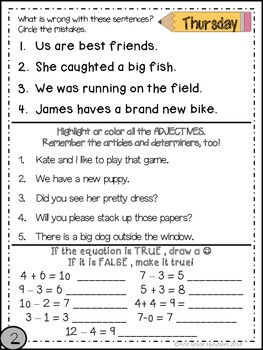 First Grade Common Core Homework - February