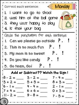 First Grade Common Core Homework - October