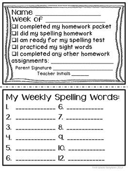 First Grade Common Core Homework - September