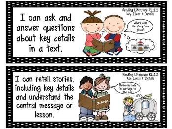 """First Grade Common Core """"I CAN STATEMENTS"""" Pocket Chart Sized {Black & White}"""