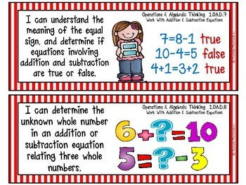 """First Grade Common Core """"I CAN STATEMENTS"""" Pocket Chart Sized {Circus Stripes}"""