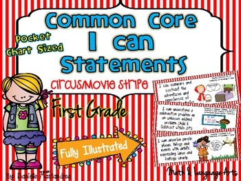 """First Grade Common Core """"I CAN STATEMENTS"""" Pocket Chart Si"""