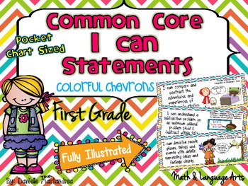 """First Grade Common Core """"I CAN STATEMENTS"""" Pocket Chart Sized {Colorful Chevron}"""