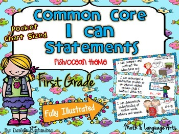 """First Grade Common Core """"I CAN STATEMENTS"""" Pocket Chart Sized {Fish Ocean Theme}"""