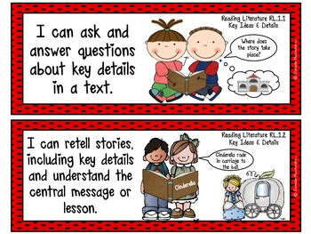 "First Grade Common Core ""I CAN STATEMENTS"" Pocket Chart Sized {Ladybug Theme}"