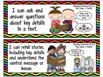 """First Grade Common Core """"I CAN STATEMENTS"""" Pocket Chart Sized {Neon Chevrons}"""
