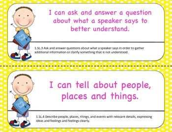First Grade Common Core I Can STatements for Math and ELA- POLKA DOT