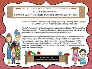 1st Grade Common Core Language Arts Checklists and Drop Down Lesson Plans