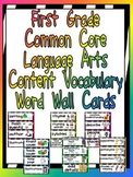 First Grade Common Core Language Arts Vocabulary Word Wall Cards- Zebra Print