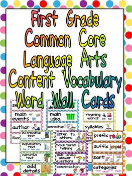 First Grade Common Core Language Arts Vocabulary Word Wall Cards- Polka Dots