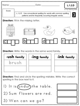 First Grade Common Core Language Assessments