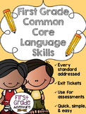 First Grade Common Core Language Skills {Exit Tickets & Wo