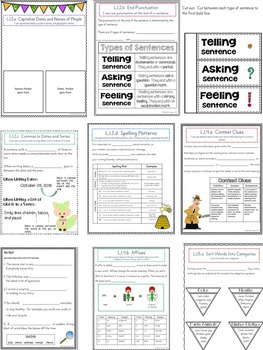 First Grade Common Core Language Standards Interactive Notebook